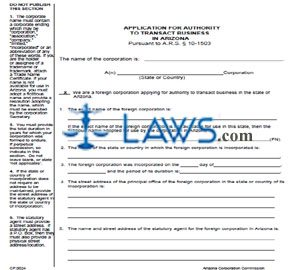 Form CF0024 Application for Authority to Transact Business in Arizona