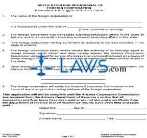 Form CF0025 Application for Withdrawal (for Foreign Corporations)