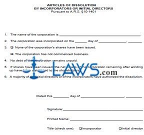 Form CF0029 Articles of Dissolution by Incorporators or Initial Directors