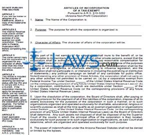 Form CF0041 Articles of Incorporation for Tax-Exempt Non-Profit Corporations