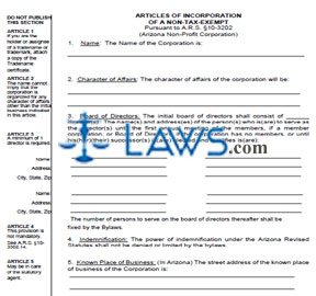 Form CF004A Articles of Incorporation for Non-Tax Exempt Non-Profit Corporations