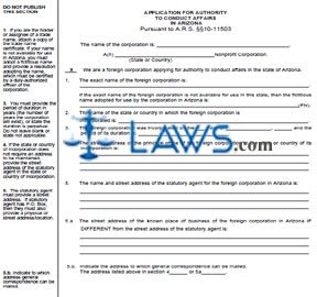 Form CF0060 Application for Authority to Conduct Affairs In AZ