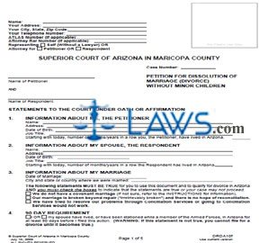 Form DRDA10f Petition For Dissolution Of Non-Covenant Marriage Without Minor Children