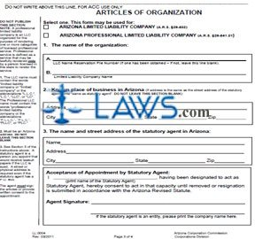 Form LL0004 Articles of Organization (Domestic LLC)