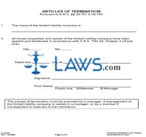 Form LL0020 Articles of Termination for Domestic LLC