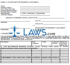 Inventory of Property and Debts