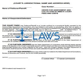 Order for Assessment and Collection of Inmate Court Fees and/or Costs