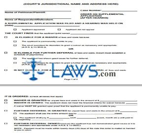 Order on Supplemental Application (After Hearing)