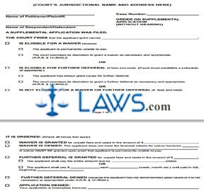 Order on Supplemental Application (Without Hearing)