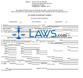 WC Claim Summary Form WC 4