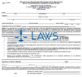 Form RSA-1 EMERG Financial Hardship Distribution Request