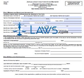 Form RSA SB Application for Survivor Benefit