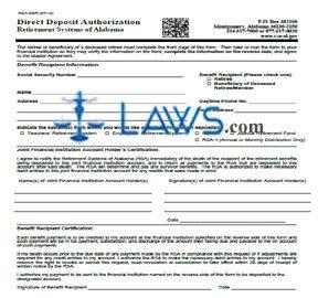 Form RSA DDR Direct Deposit Authorization