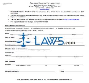 Form RSA ADDCHGF Address Change Notification