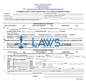 Worker's Compensation Combination Supplementary and Claim Summary Form