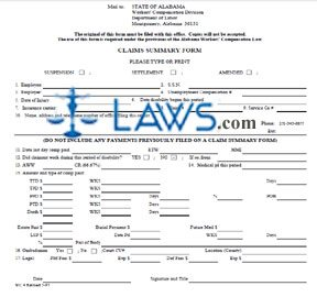 Form WC4 Worker's Compensation Claim Summary Form