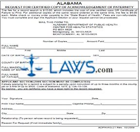 Form ADPH-HS-21 Request for a Certified Copy of Acknowledgment of ...