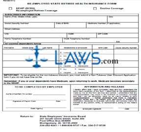 Re-employed State Retiree Health Insurance Form