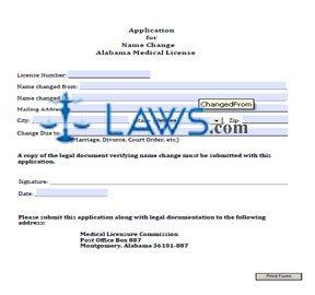 Application for Name Change  Alabama Medical License