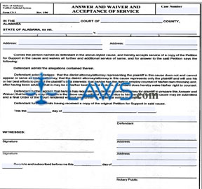 Answer and Waiver Acceptance of Service