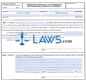 Order on Affidavit to Terminate Withholding Order of Support