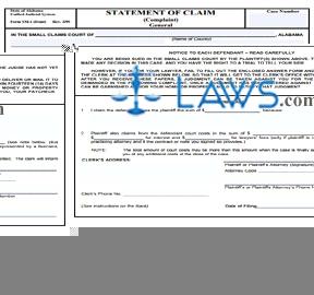 Form SM-1 Statement of Claim (Complaint, General)