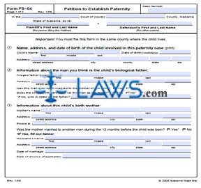 Form Asb Ps 04 Petition To Establish Paternity Alabama