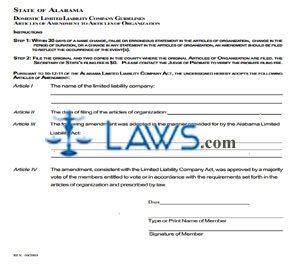 Form Domestic LLC Articles of Amendment