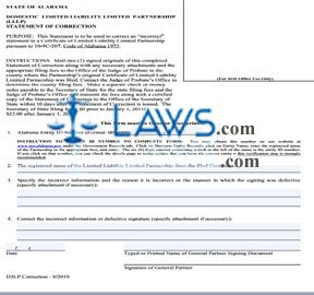 Form Domestic LLLP Statement of Correction