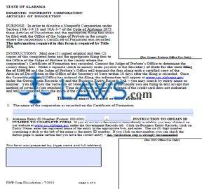 Form Nonprofit Corporation Articles of Dissolution