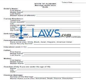 Form Marriage License Application - Bride