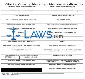 Form Clarke County Marriage License Application