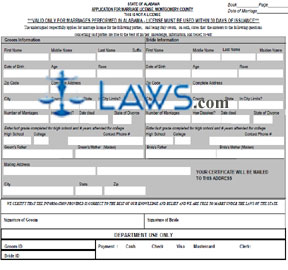 Form Application for Marriage License - Montgomery County