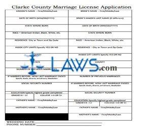 Form AL Clarke County Marriage License Application