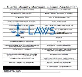 Form AL Marriage License Application -  Clarke County