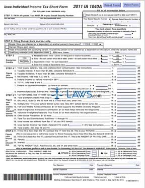 Form ia 1040a individual income tax short form income for 1040 a 2011 tax table