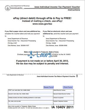 Form IA 1040V Iowa Individual Income Tax Payment Voucher