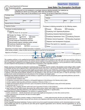 Form 31014 Sales Tax Exemption Certificate