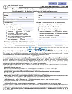 Form 31-01-4b Iowa Sales Tax Exemption Certificate