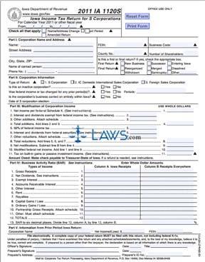 Form IA 1120S Iowa Income Tax Return for S Corporations
