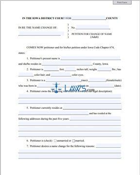 Form IA Name Change Petition - Iowa Forms - | Laws.com
