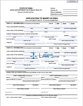 Form Application to Marry in Iowa