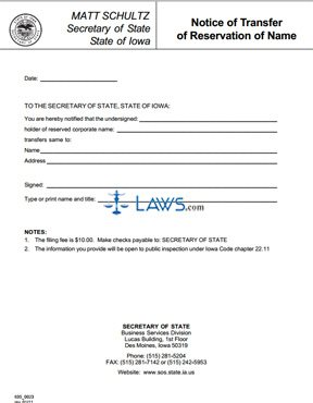 Form 635_0023 Notice of Transfer of Reservation of Name