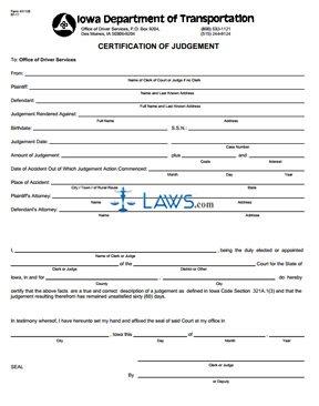 Form 431126 Certification of Judgement