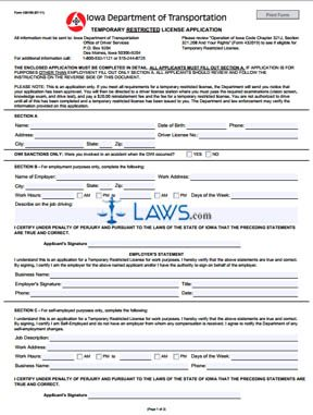 Form 430100 Application for Temporary Restricted License ...