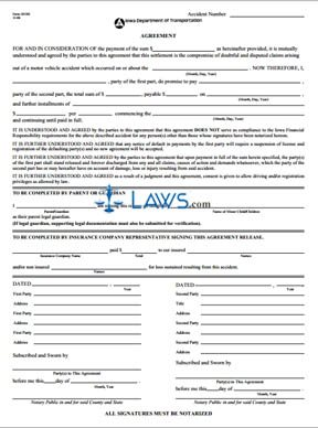 Form 181301 Accident Settlement Agreement Release Form