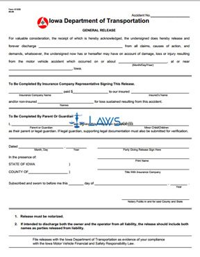 Form 431036 Accident General Release Form