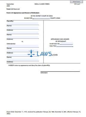 Form 3.4 Appearance and Answer of Defendant