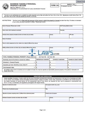 Indiana Business Tangible Personal Property Tax Form