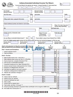 Form Indiana Individual Tax Return